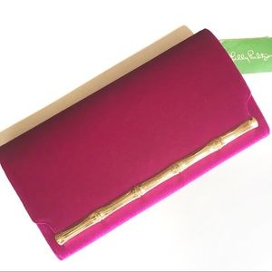 Lilly Pulitzer Bamboo clutch blackberry velvet